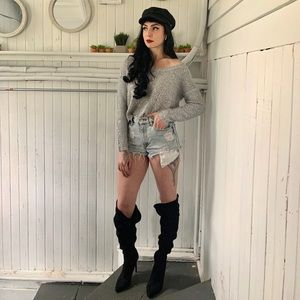 Grey silver sequin sweater